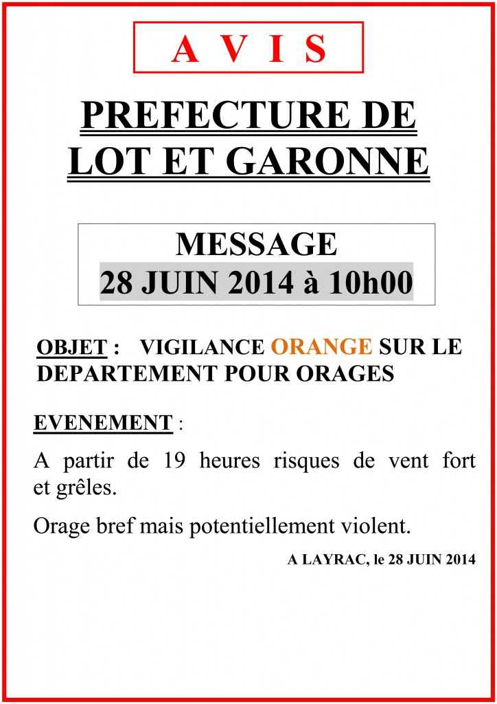Alerte Orage : Vigilance ORANGE