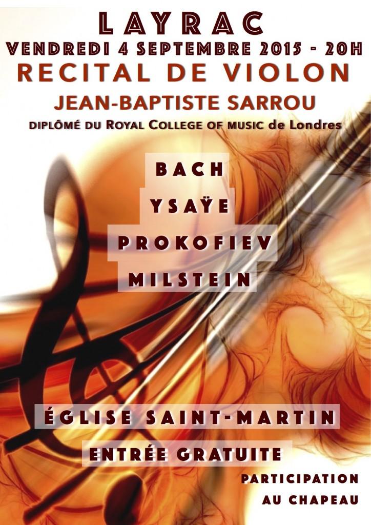 J-B SARROU propose un récital de violon à Layrac