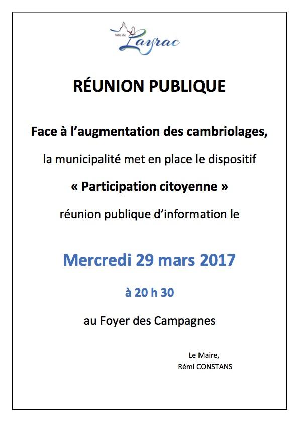 RÉUNION PUBLIQUE PARTICIPATION CITOYENNE A LAYRAC